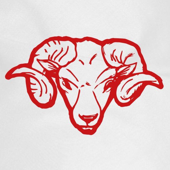 Roter Widderkopf Rammbock Geschenkidee Teufel