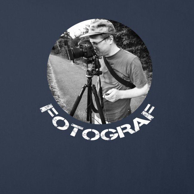 Fotograf mit Kamera und Stativ und Schrift Text