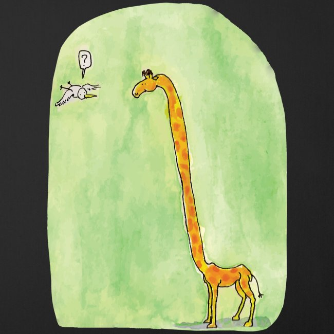 La girafe et l'oiseau