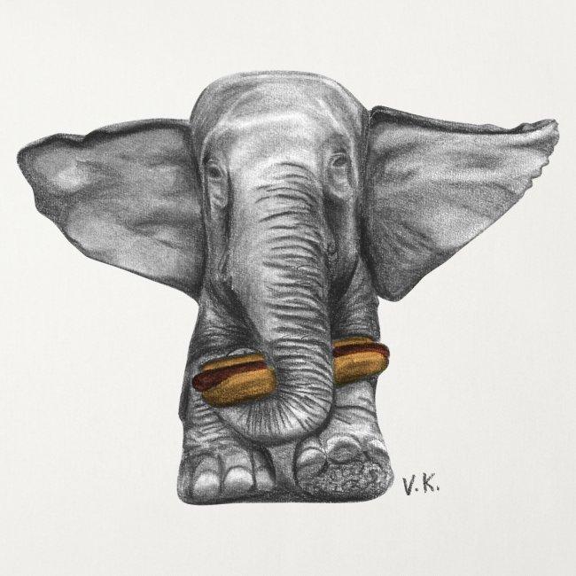 Elephant Eating Hotdog