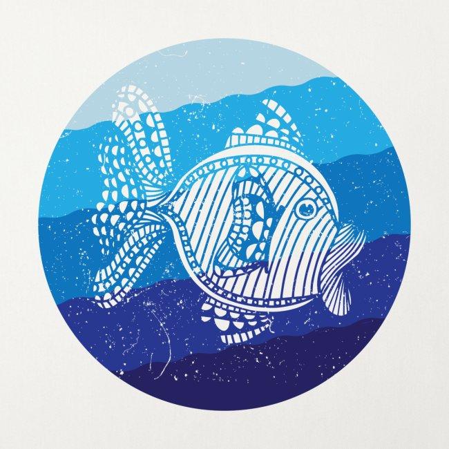 Stripey Sweetlips Fish Retro