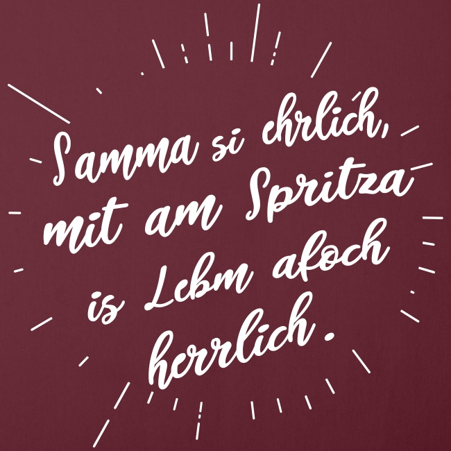 Vorschau: Samma si ehrlich mit am Spritza is Lebm herrlich - Sofakissen mit Füllung 44 x 44 cm