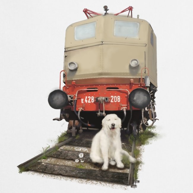 Golden Retriever with Train