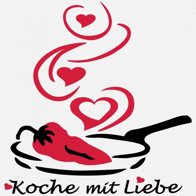 Koch mit Bratpfanne und Chillischote