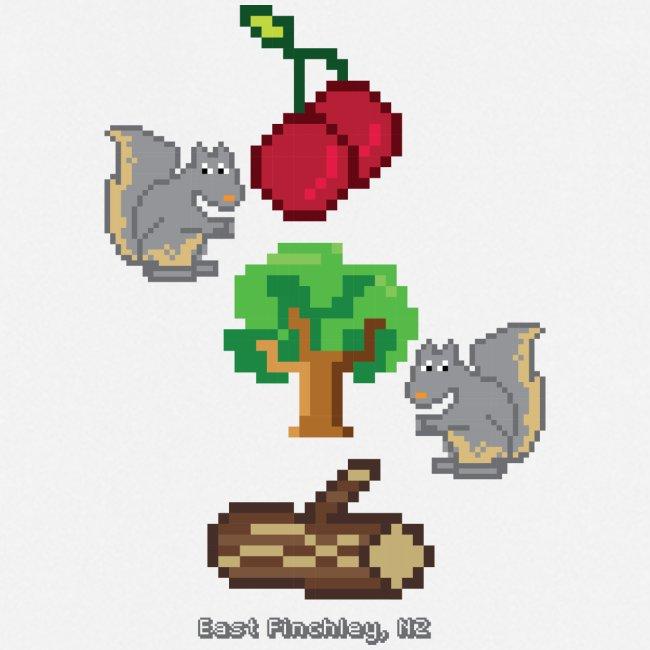 8 Bit Style Cherry Tree Wood Graphic