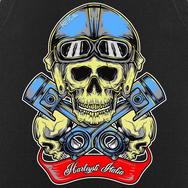 Teschio con casco vintage e pistoni - By Mescal