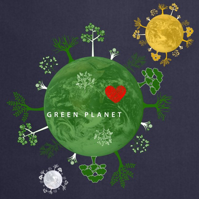 Trees on Green Planet with Sun Moon