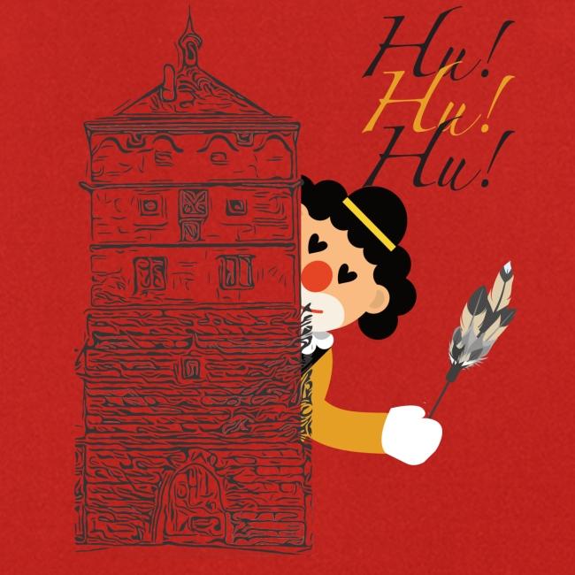 Hu! Hu! Hu! Schwarzgelber Clown am Schwarzen Tor