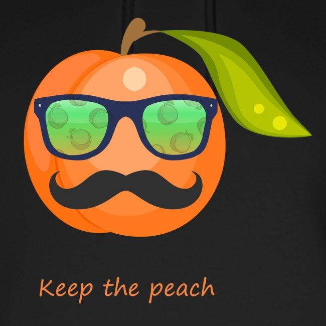 Glasses, mustache keep the peach