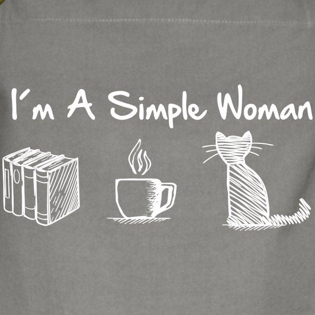 Vorschau: simple woman cat books - Kontrastschürze