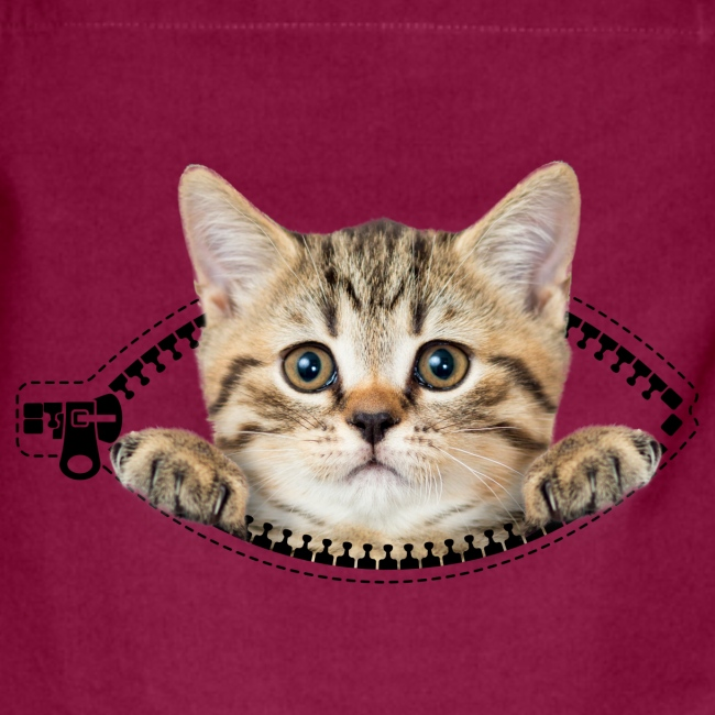 cat zipper pocket - Kontrastschürze