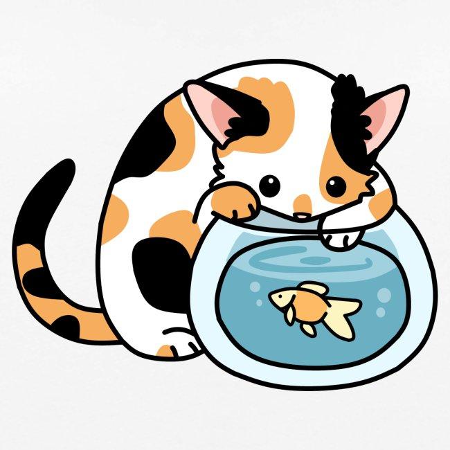 Katze mit Fisch im Glas