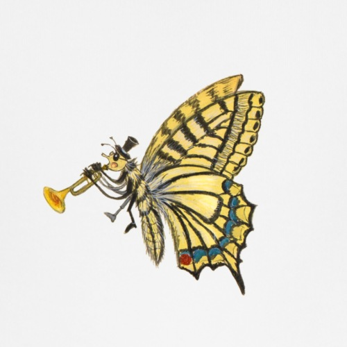 Schmetterling mit schwarzem Logo - KlingBim - Baby Bio-T-Shirt