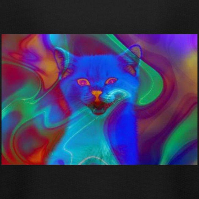Gattino con effetti neon surreali