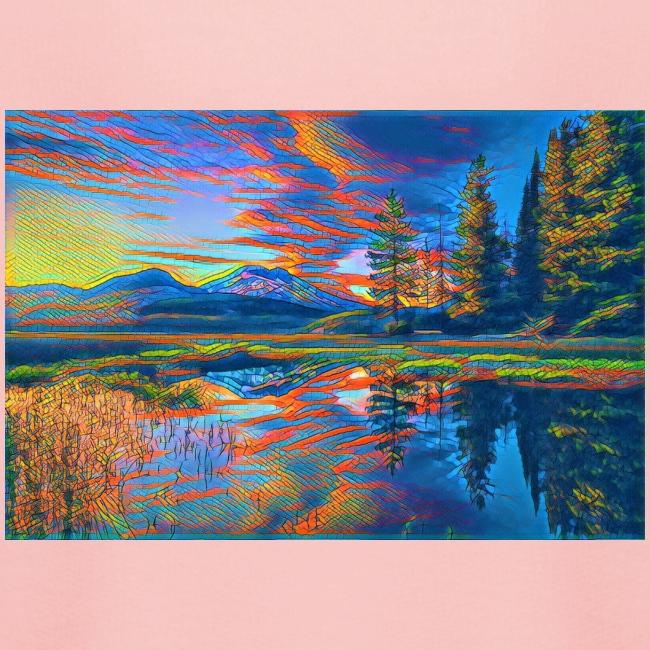 Paesaggio al tramonto con laghetto stilizzato