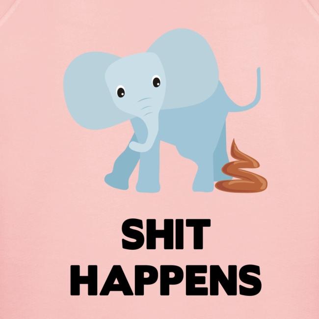 olifant met drol shit happens poep schaamte