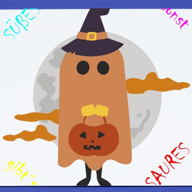Halloween Geist der um Süßes oder Saures bettelt