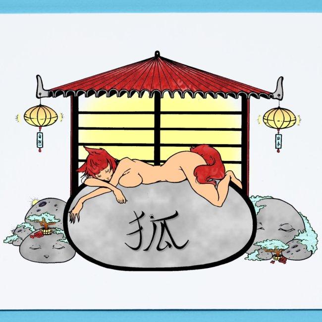 Déesse renard Inari jardin zen temple japonais