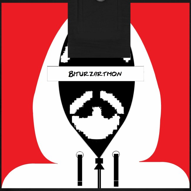 Biturzartmon Hoodie Motiv weiss/rot