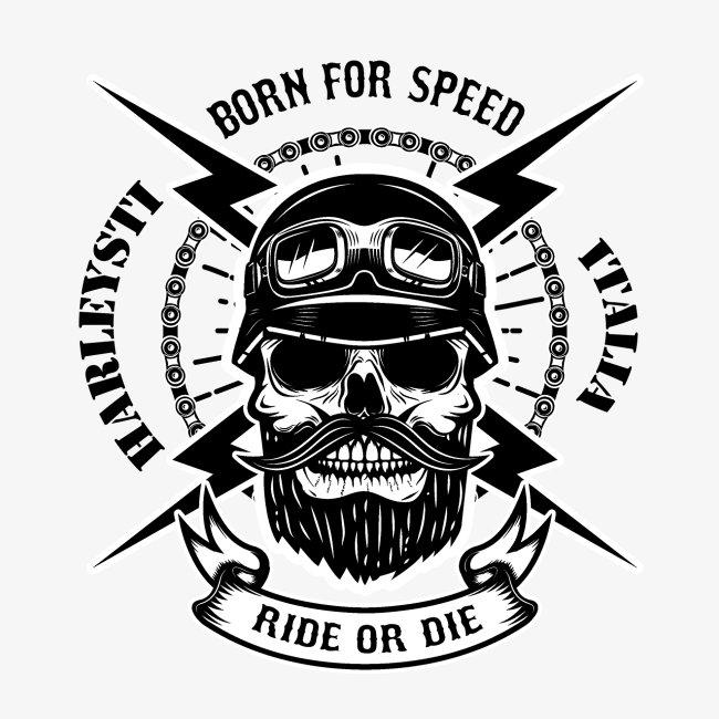 Teschio con barba - biker