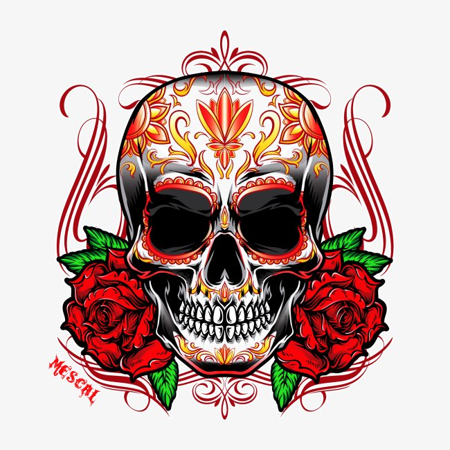 Teschio e rose rosse - Skull and red rose - Mescal