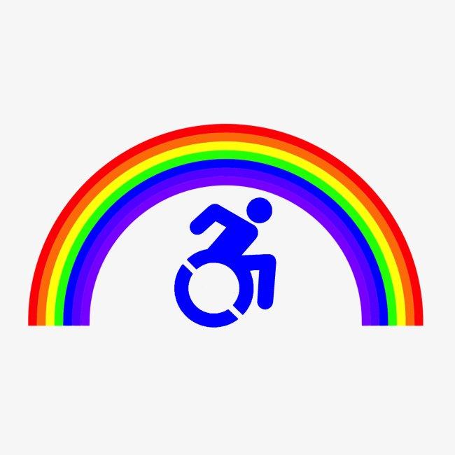 > Trotse rolstoel gebruiker met regenboog, lgbt