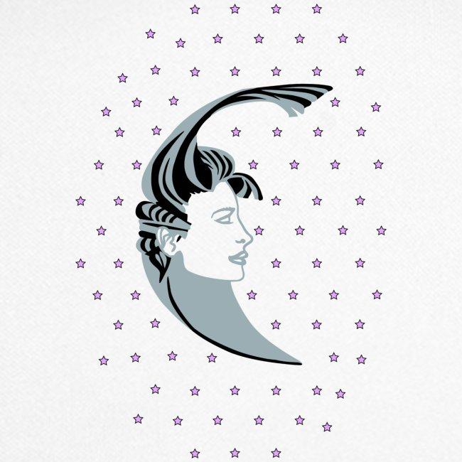 Mujer Luna   Ilustración Retro Vintage   Estrellas