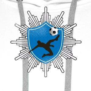 Football coat of arms ball goal shooting club team mostly - Men's Premium Hoodie