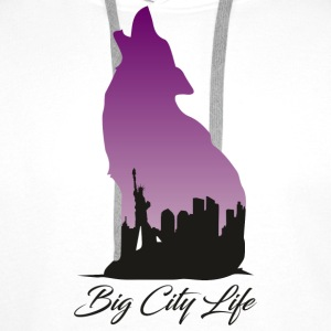 Wolf i New York Design - Big City Life - Premium hettegenser for menn