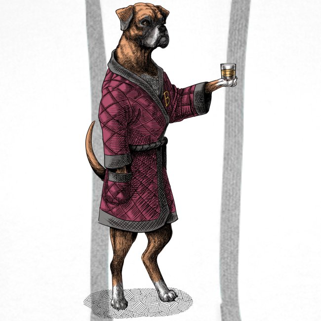 Boxer in a posh jacket