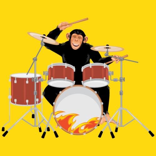 Schlagzeuger Affe Flammen - Männer Premium Hoodie