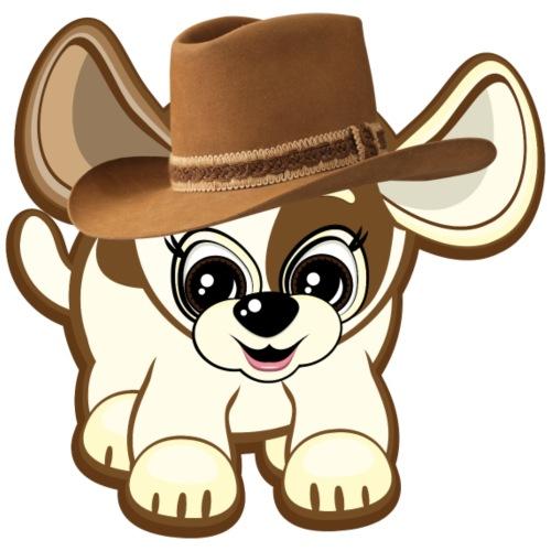 chien mignon avec chapeau de cow boy - Sweat-shirt à capuche Premium pour hommes
