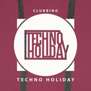 logo_techno_holiday_2017_blanco - Bluza męska Premium z kapturem