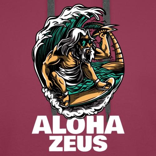 Aloha Zeus   Humor Surf   Mitología - Sudadera con capucha premium para hombre