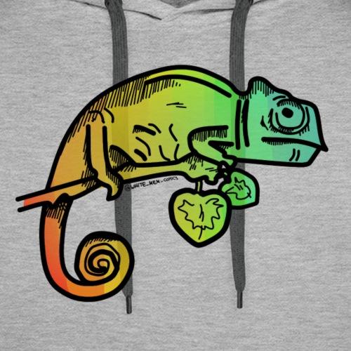 camaleonte arcobaleno - Felpa con cappuccio premium da uomo