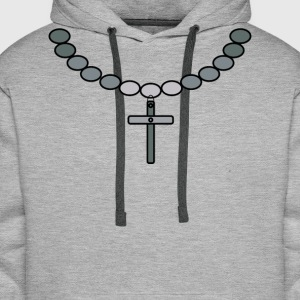 Print necklace with cross silver - Men's Premium Hoodie
