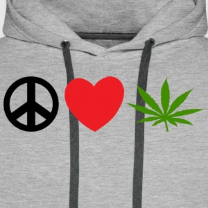 Peace Love Marijuana Cannabis Weed Pot - Men's Premium Hoodie