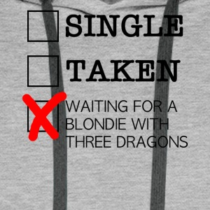 WAITING FOR A BLONDIE WITH THREE DRAGONS black - Men's Premium Hoodie