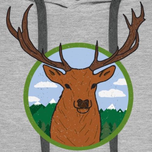 Cerf Break Wood - Sweat-shirt à capuche Premium pour hommes