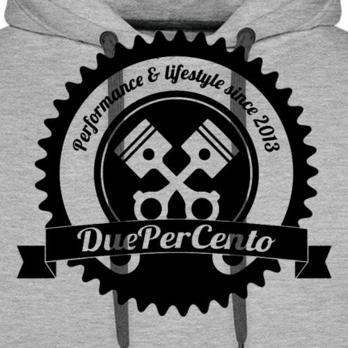 DuePerCento Logo Nero - Felpa con cappuccio premium da uomo