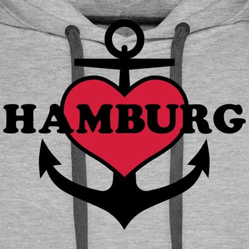 Anker Herz Hamburg Maritimes Motiv - Männer Premium Hoodie