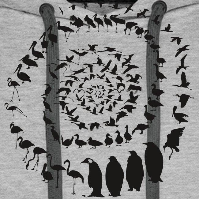 Wasservogelvögel in einer Spirale