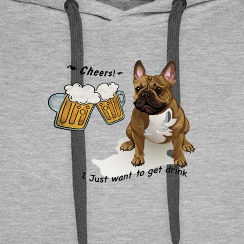 FrenchBulldog Merrymaker - Sweat-shirt à capuche Premium pour hommes