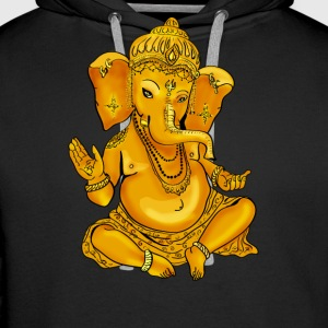 Ganesha Yoga India God Hindu Buddha Namaste gold - Men's Premium Hoodie