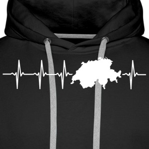 Switzerland, heartbeat design - Men's Premium Hoodie