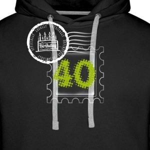 pie 40th birthday gift stamp Post - Men's Premium Hoodie