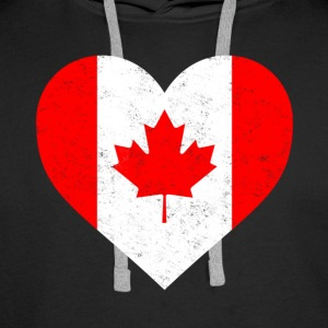 Canada Flag Shirt Heart - Canadian Shirt - Men's Premium Hoodie
