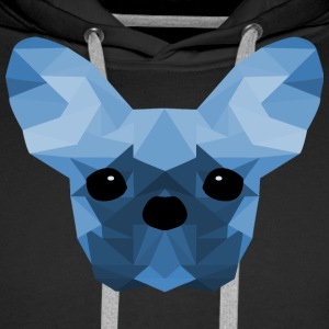 French Bulldog Low Poly Design blue - Männer Premium Hoodie