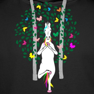 Unicorn Yoga - Premium hettegenser for menn