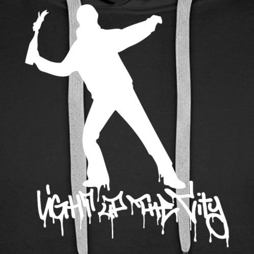 Light up the City - valkoinen printti - Miesten premium-huppari